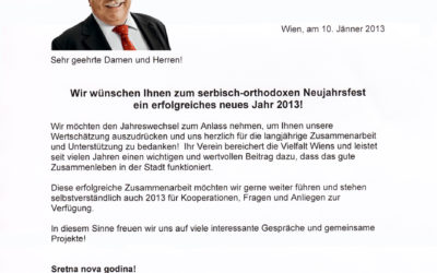 Čestitka gradonačelnika Beča Dr.Michael Häupl-a